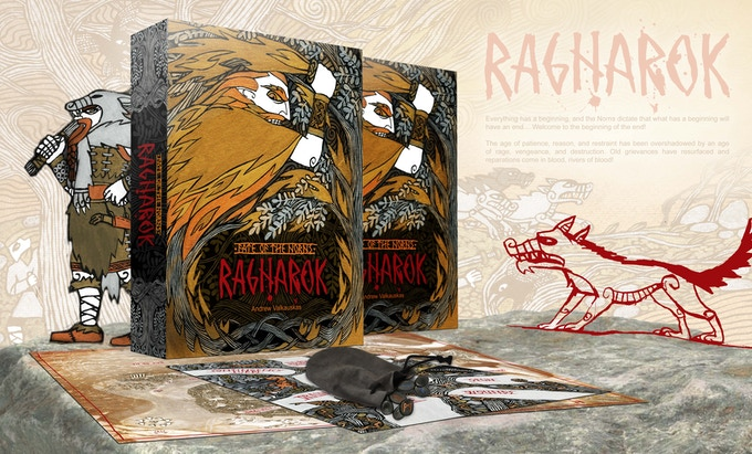 Conceptual image of planned boxed set (Rulebook, poster map, 5 play mats, 5 sets of runes)