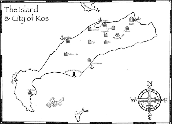 Kos Island is located two miles off of the humanoid-infested Anatolian mainland. It is home to capital Kos City, two dozen large villages — and innumerable venues for adventure! This graphic was created by artist William Thrasher.