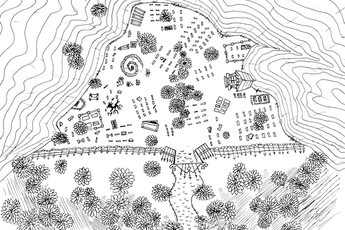 """This is a stylized plan of the abandoned above-ground city of the dead that appears in """"Swords of Kos: Necropolis,"""" first title in Skirmisher Publishing LLC's line of swords-and-sorcery fiction. It was created by artist William T. Thrasher."""