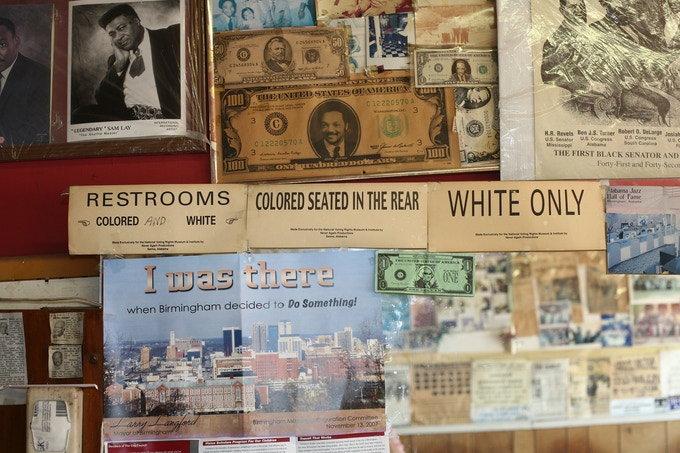 The wall of James Armstrong's barber shop