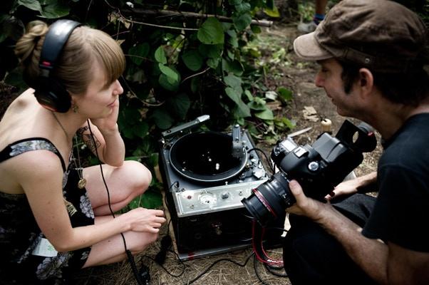 Lavinia and Alex prep the Presto for a shoot at the Brooklyn Botanic Gardens