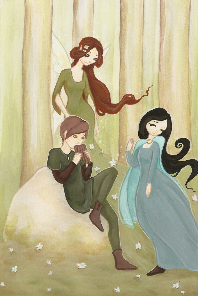 Peter playing his pipes for Aneira as the Fairy of Spring watches her child from the forest.