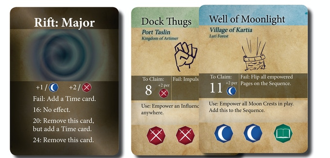 [An obstacle, and two page cards]