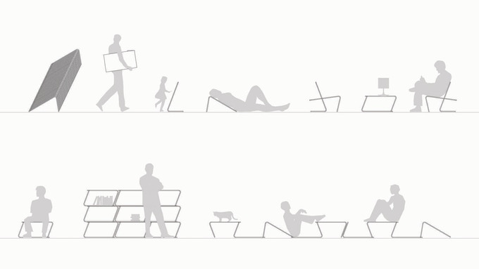 "multi-purpose of ""L"" elements: stacking, mobility, drawing board, rest support, lounge chair, coffee table, bench, shelving, landscape"