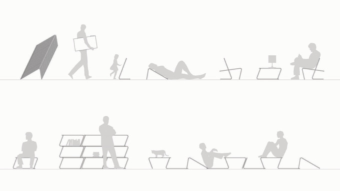 """multi-purpose of """"L"""" elements: stacking, mobility, drawing board, rest support, lounge chair, coffee table, bench, shelving, landscape"""
