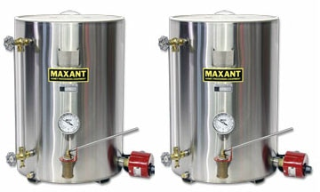 A pair of twenty-five gallon storage and bottling tanks.  Able to hold two varieties of a season of honey.