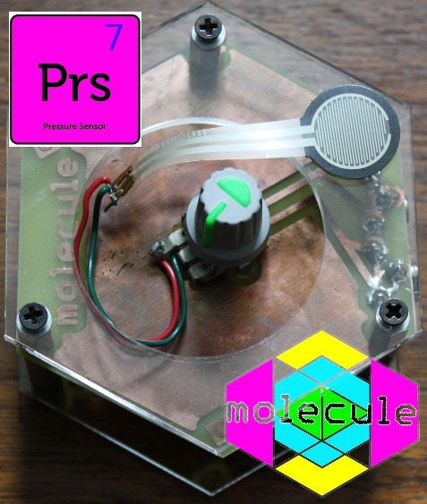 Pressure Sensor (coupled with a turn knob the physical variance of pressure allows for some really pleasant sound control accents -- pulses, bends, squeaks, taps, and so on)