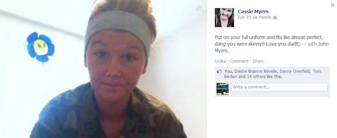 One of Cassie's Facebook Post