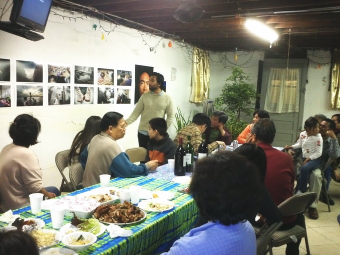 Informal exhibition of my work for Cambodian American community members in a Bronx home.