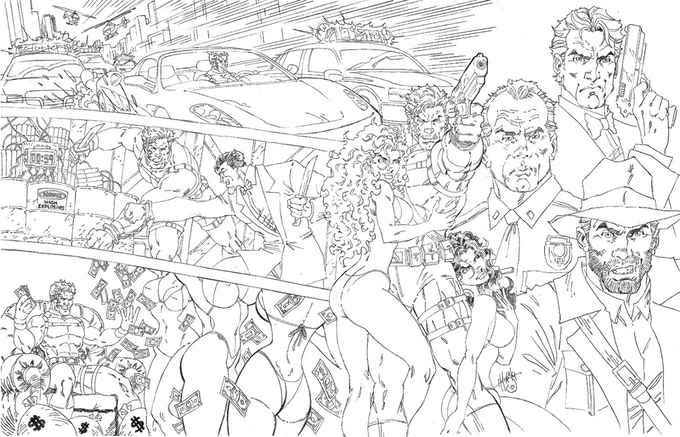 Pencilled Layout for the Bad Guy Wallpaper(not final version)
