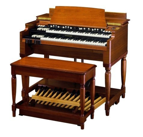 The Hammond B3 is the signature model of all Hammond Organs.  With its foot pedals attached, the B3 weighs 425 lbs.