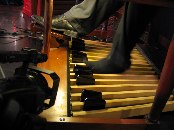 "Tampa, FL - We created a ""footcam"" to watch Organists work the Hammond's 25 foot pedals and expression pedal."