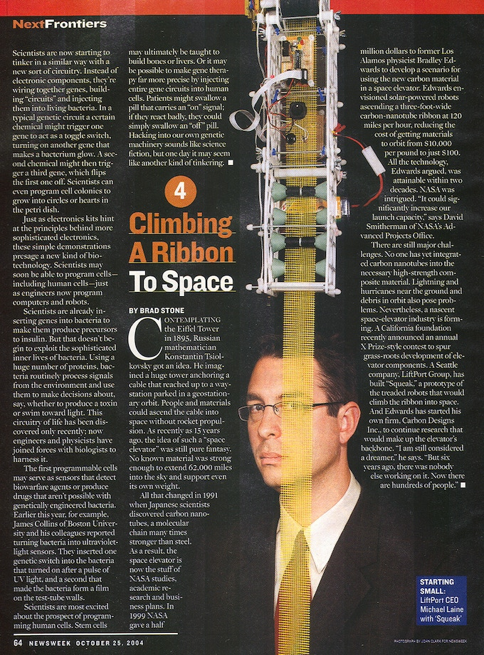 """Newsweek Magazine: #4 """"Invention that will Change the Century""""; Our Elevator to Space"""