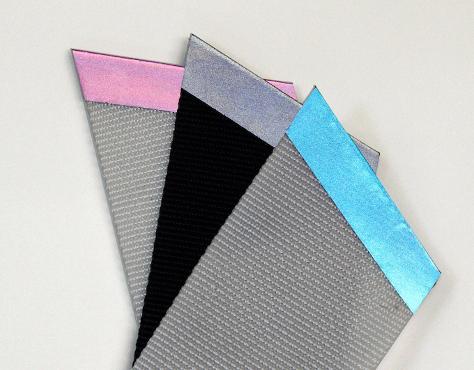 The same samples as above showing the reflective state