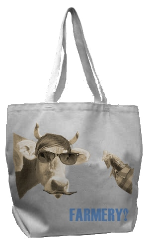 Hipster Cow & Chicken Farmers Market Tote