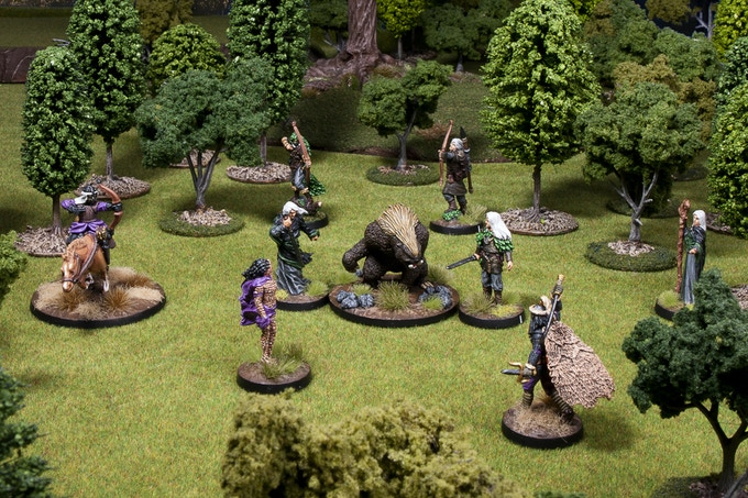 A game in play - The Beast Hunt Scenario from our Freeblades Rulebook