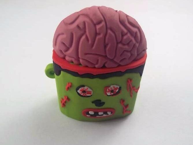 awesome zombie brain 4gb keychain sits flat on desk
