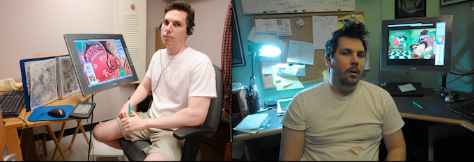 LEFT: 2005. One year in. RIGHT: 2011. Six years later, the book is finished.