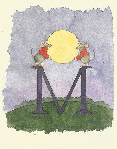M is for mice, maneuvering the Moon.