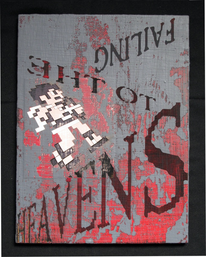 """Chris Reno, Failing To The Heavens, engraved painting on wood 12"""" x 16"""""""