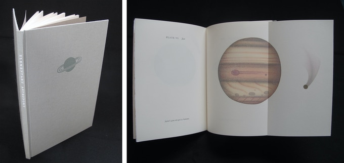 """Zach Stensen, Elementary Astronomy 6.5"""" x 9"""" designed, printed, and bound by the artist with handset metal type and stone lithograph illustrations"""