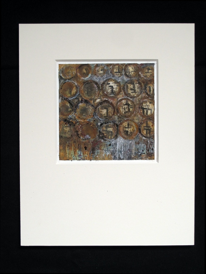 """Jan Duschen,Untitled (circles), 11x14"""" matted painting"""