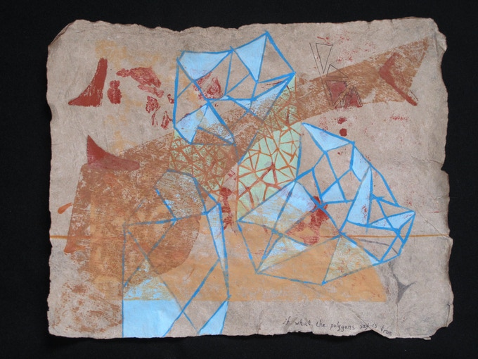 """Nicole Donnelly, """"if what the polygons say is true."""" Woodblock print (with acrylic paint, pen, and ink) on handmade flax paper"""