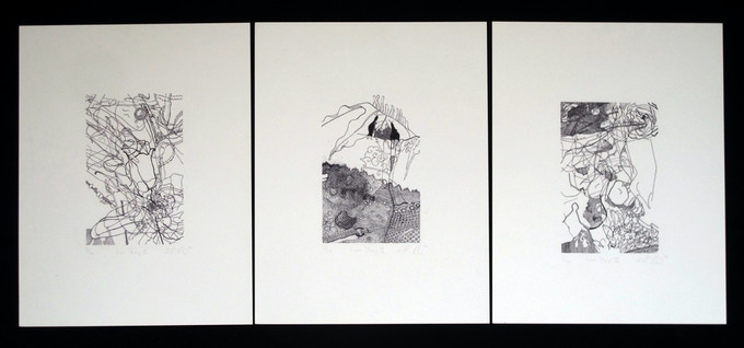 "Dora Malech, ""Love Story I,II, & II"" (set of three)  8"" x 11"" inkjet prints"