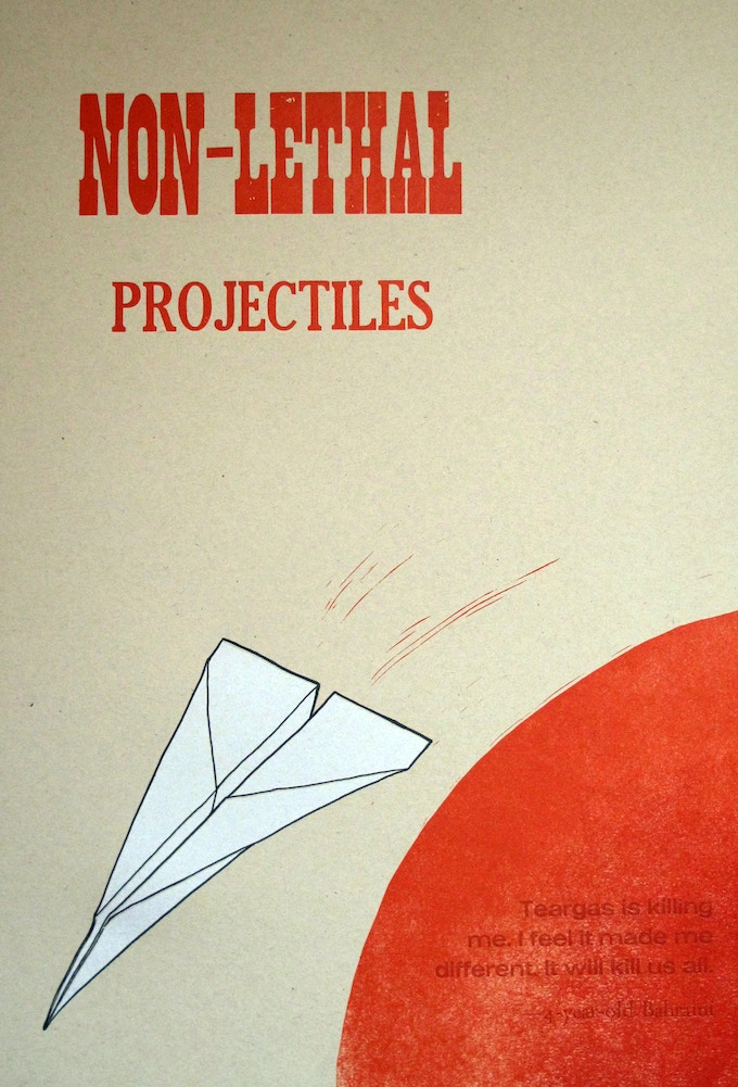"""Cody Gieselman, Non-lethal Projectiles 15"""" x 22"""" Letterpressed broadside"""