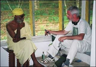 """With the late Ghanaba, the """"divine drummer"""" of Ghana, in 2002"""