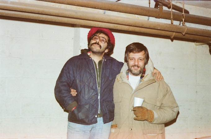 George Romero and Tony Buba on the set of Dawn of the Dead