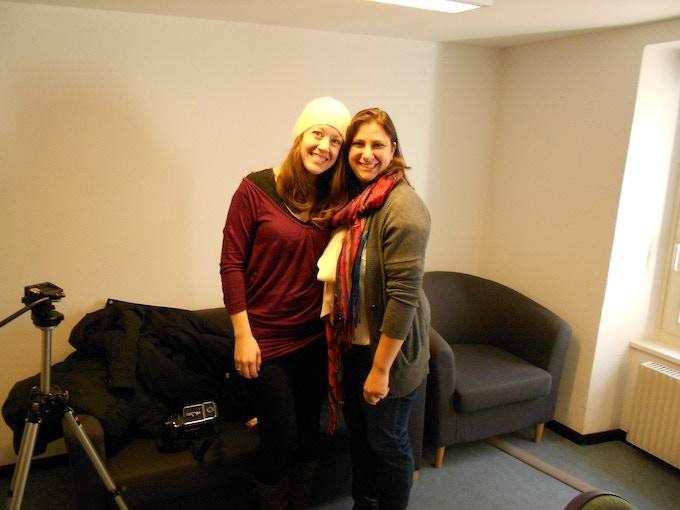 Laura and Samantha on site, Bex, Switzerland, 2011