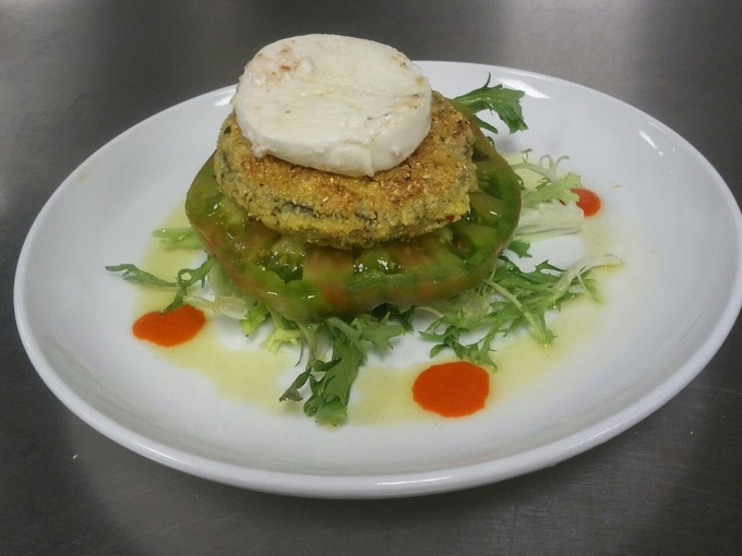 Local Cornmeal Encrusted Eggplant And Heirloom Tomato Napoleon With Marinated Fresh Mozzarella Red Pepper Coulis
