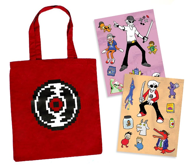 "Red Record tote (not to scale); two 6"" x 8"" Bro and Dave themed sticker sheets by Greliz"