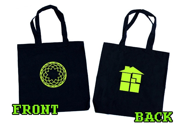Black Sburb tote bag - Sburb Portal on one side, Sburb House on the other