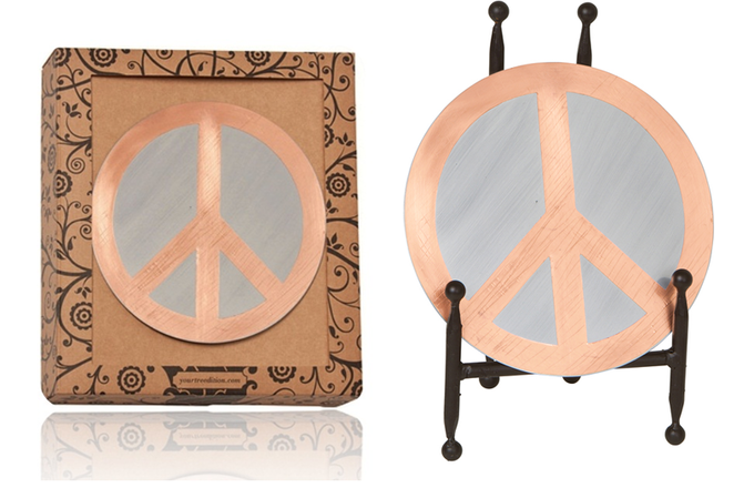 Peace on Earth Topper in package and on display easel