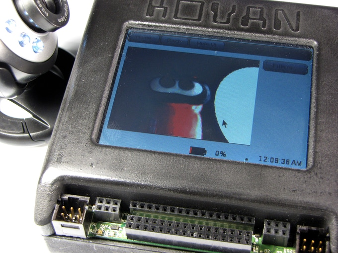 Prototype of Project Kovan displaying a camera on-screen with OpenCV. Note that case shown is not the plastic production case.