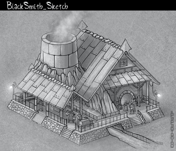 New sketch for the Blacksmith building