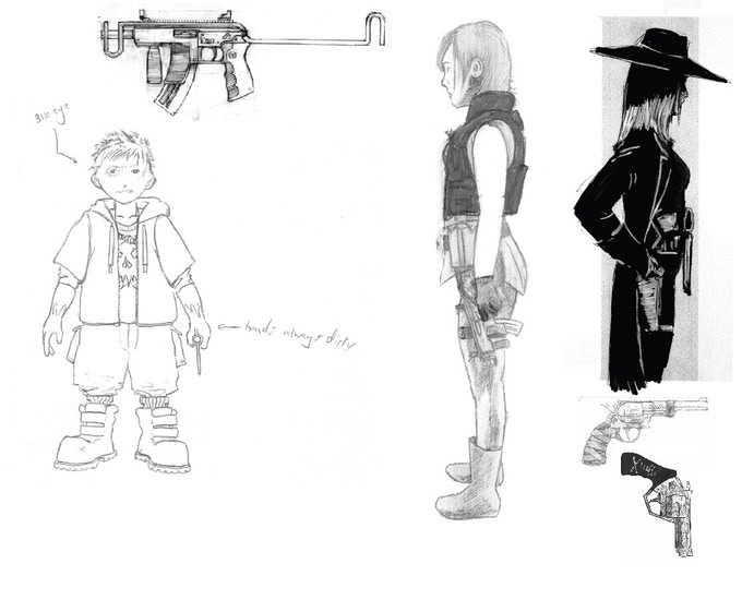 Concepts of Jack, Twitch, and Cade (from left to right)
