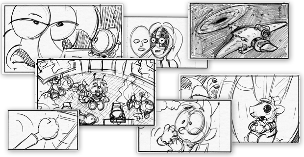 A few of the extensive set of storyboards for the film