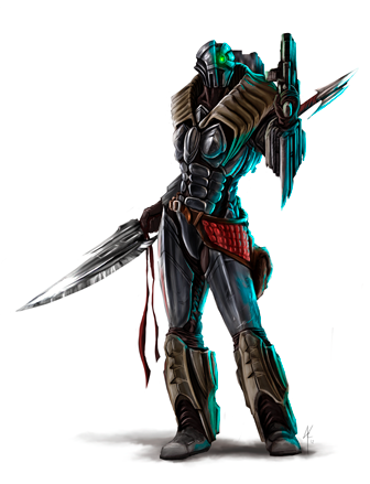 Concept art by James Krause- Among the most technologically advanced characters in Emergence, Codename: Vixen is an assassin equipped with advanced power armor, a collapsing a war scythe, and a heavily customized submachine gun.