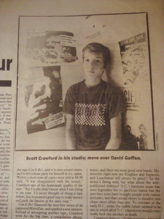 """An August 1985 Washington City Paper article on Crawford entitled """"Punktrepeneur""""..."""