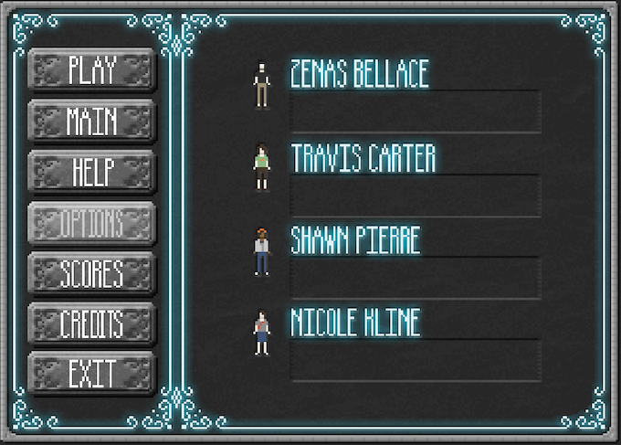 First Draft of the Game Menu Credits Screen