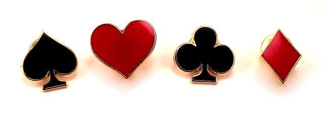 "Set of four 1"" enamel pins - Spade, Heart, Club, Diamond"