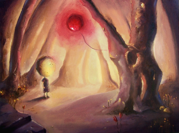 Deep in the forest, Charlie found a balloon, big, red and bright like the moon.