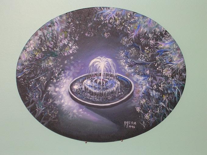 """The Midnight Fountain"" -- original oil painting on 16"" x 20"" oval canvas by award-winning artist Vera Nazarian -- an art collector's dream!"