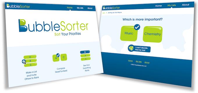 Design comps for BubbleSorter.com
