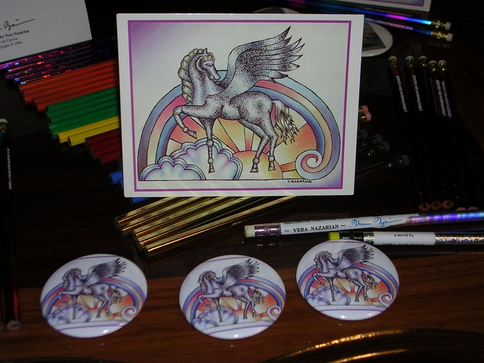 """""""Pegasus"""" Collector Cards and Buttons"""