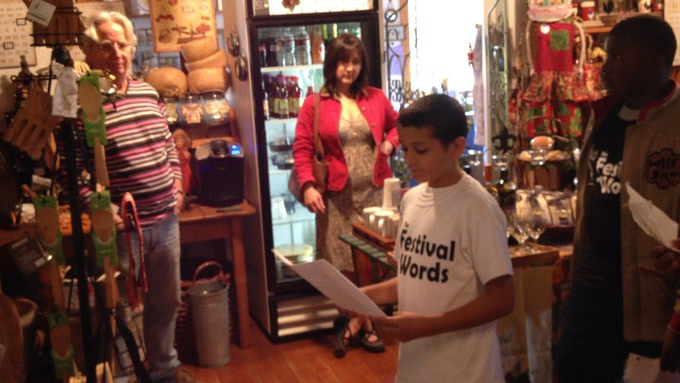Drive-by poetry reading by a St. Landry Parish public school student at a kitchen shop in Grand Coteau, La.