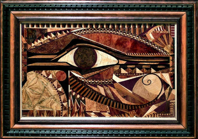 Jeremy Johnson's Wedjat: 18 species of wood & 1,500 individually cut pieces of wood veneer (with frame)